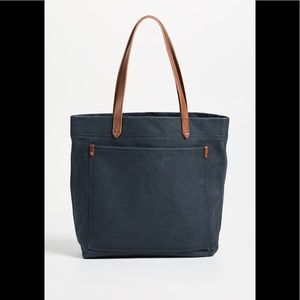 Madewell Canvas Medium Transport Tote in Black Sea